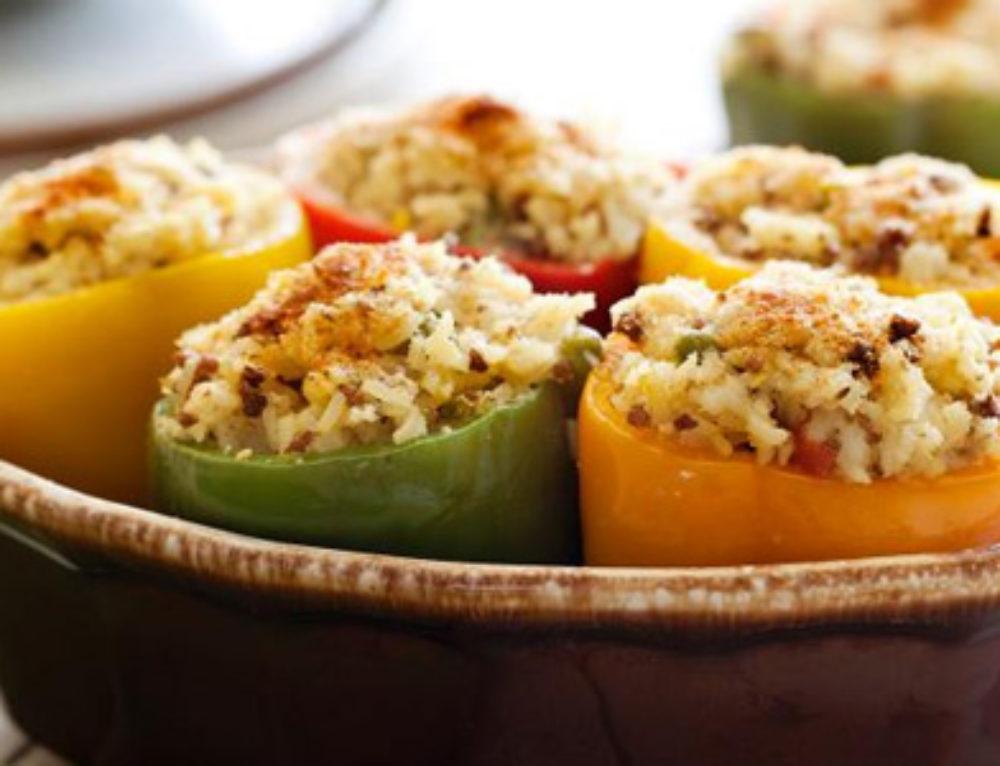 ירקות ממולאים באורז מלא ובשר